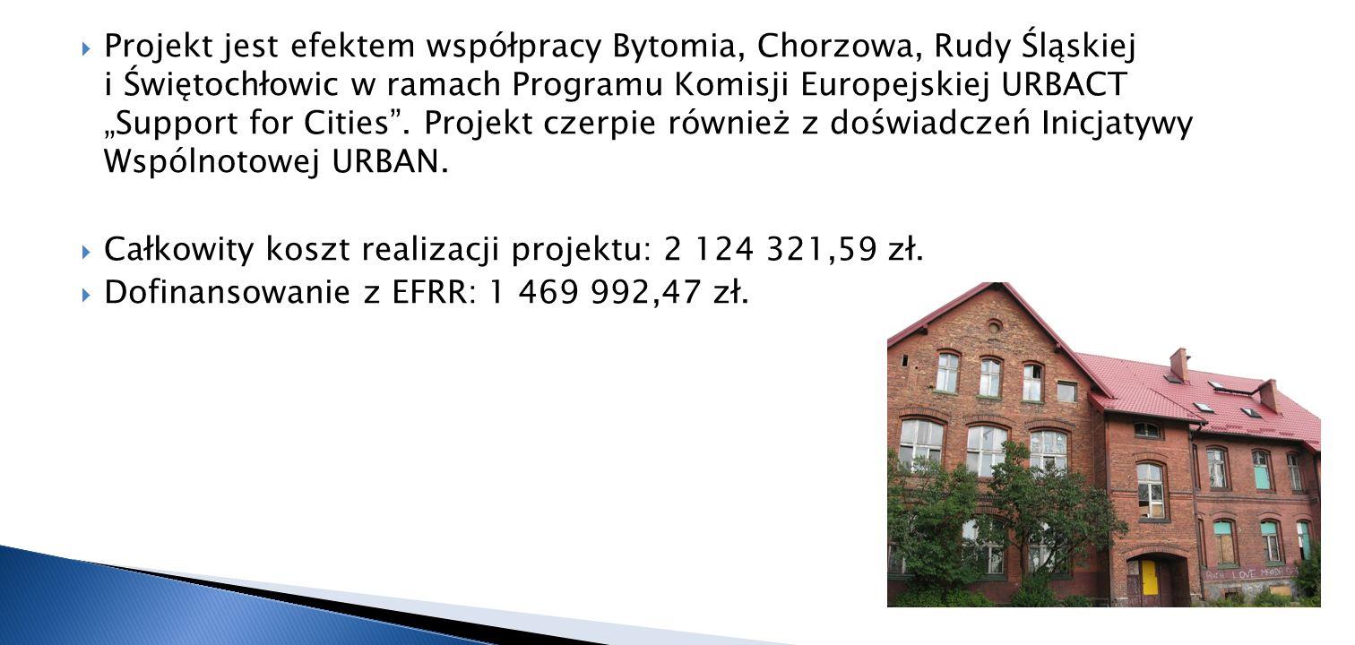 """Projekt jest efektem współpracy Bytomia, Chorzowa, Rudy Śląskiej i Świętochłowic w ramach Programu Komisji Europejskiej URBACT """"Support for Cities . Projekt czerpie również z doświadczeń Inicjatywy Wspólnotowej URBAN."""