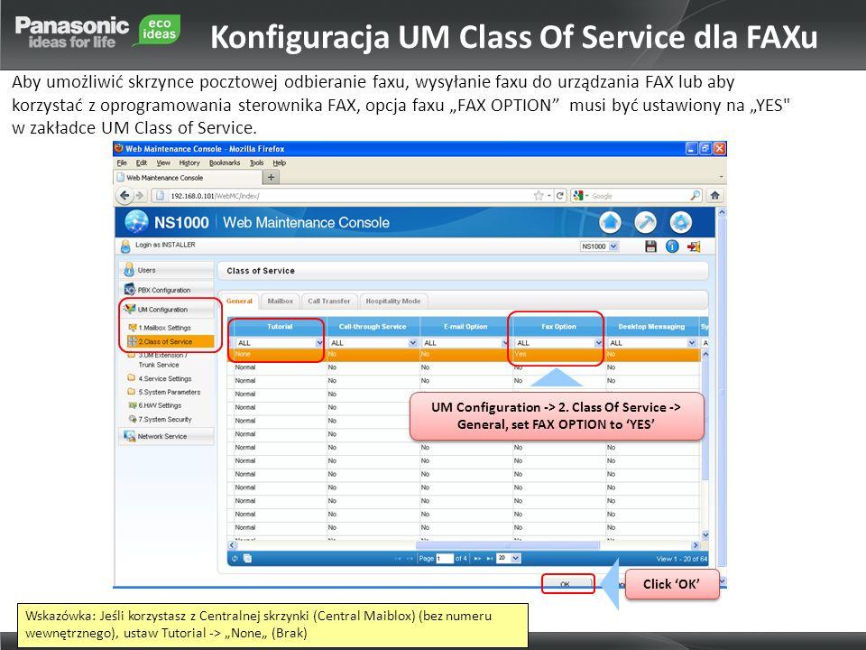 Konfiguracja UM Class Of Service dla FAXu