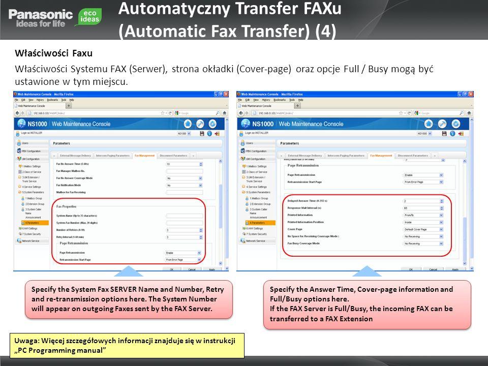 Automatyczny Transfer FAXu (Automatic Fax Transfer) (4)
