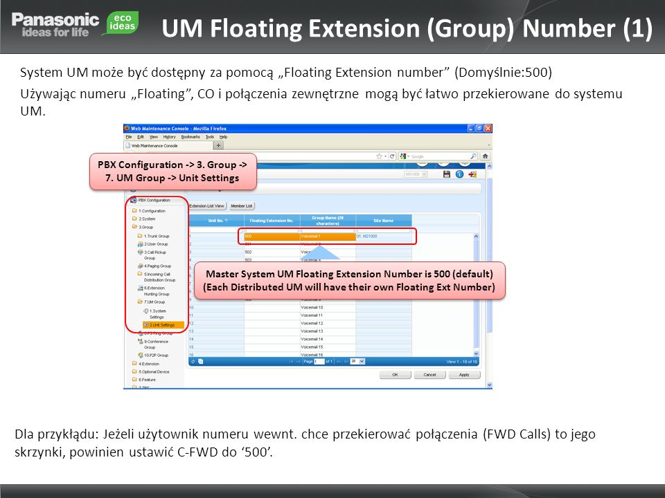 UM Floating Extension (Group) Number (1)