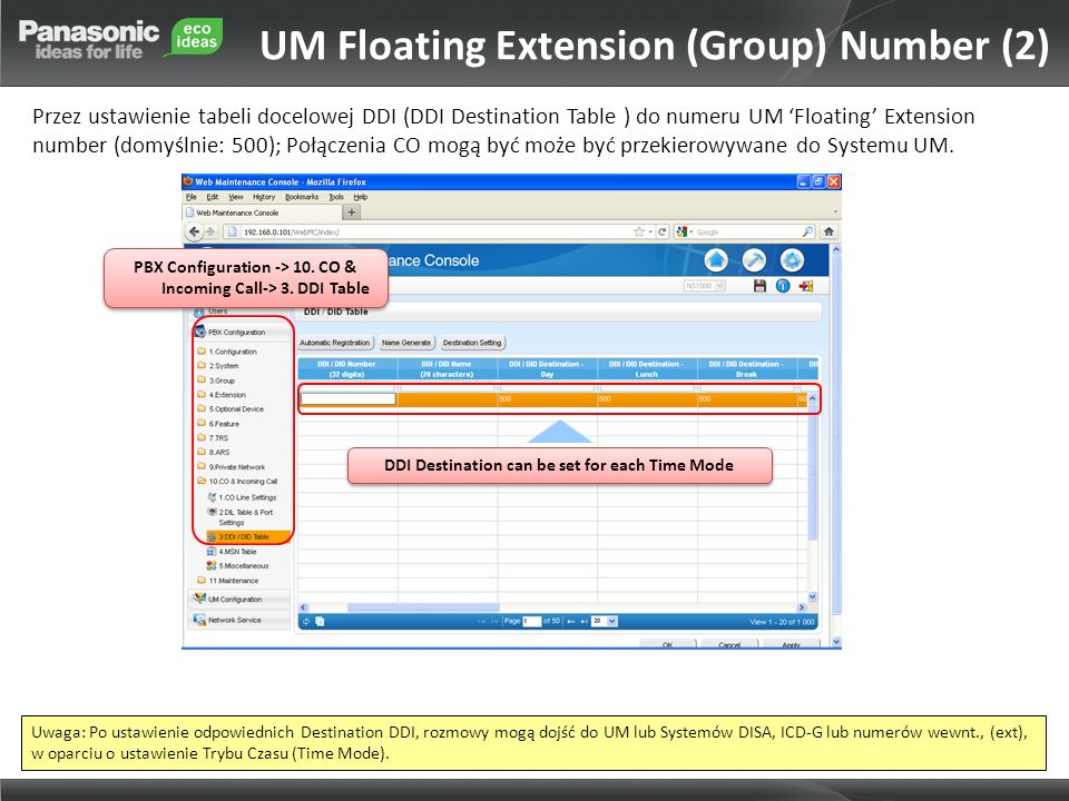 UM Floating Extension (Group) Number (2)