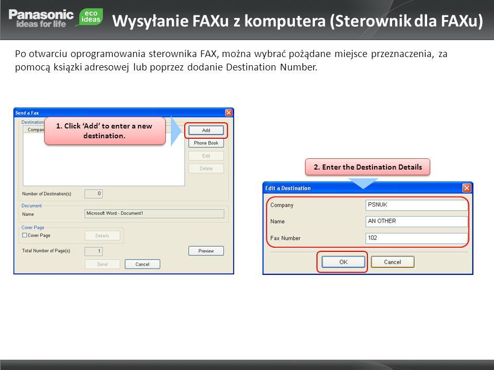 Wysyłanie FAXu z komputera (Sterownik dla FAXu)