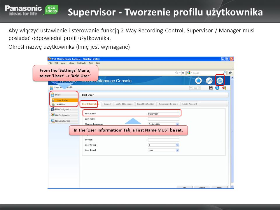 Supervisor - Tworzenie profilu użytkownika