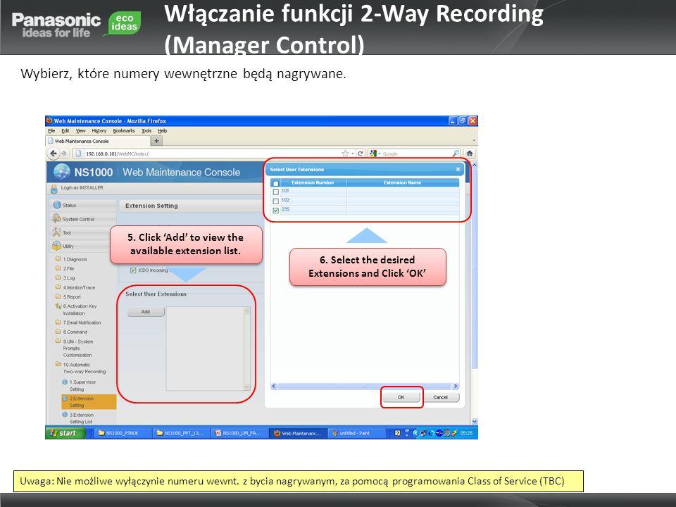 Włączanie funkcji 2-Way Recording (Manager Control)