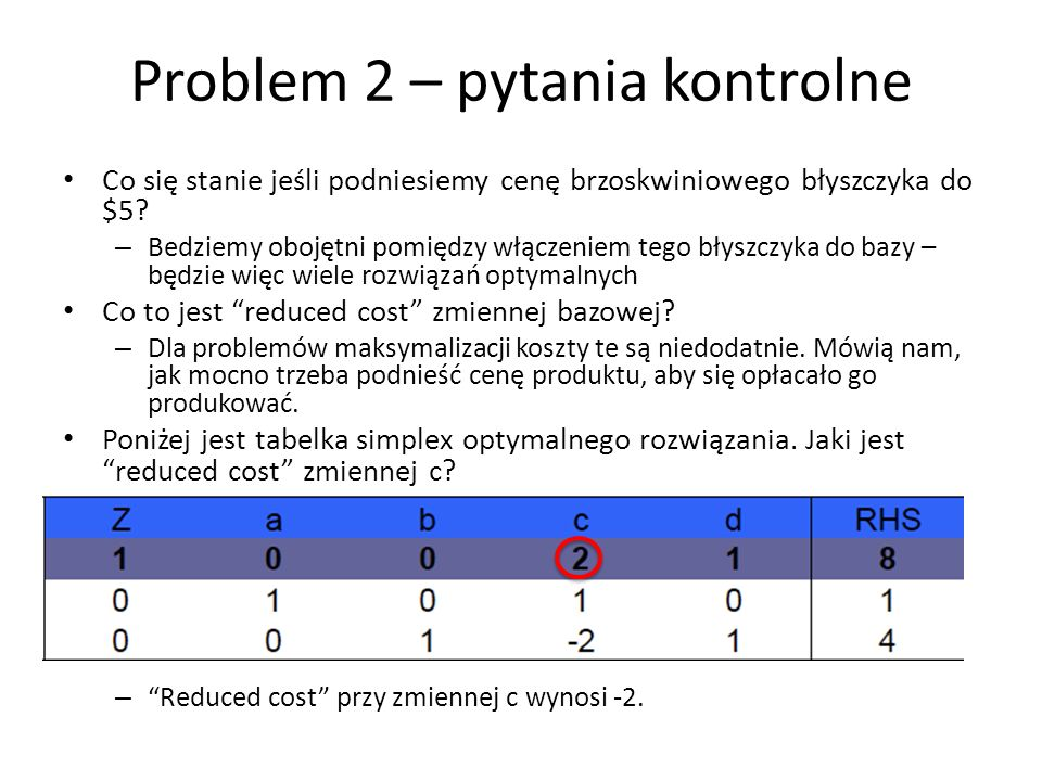 Problem 2 – pytania kontrolne