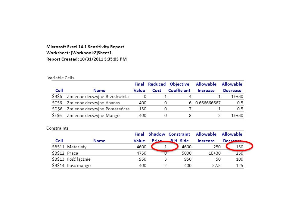 Microsoft Excel 14.1 Sensitivity Report
