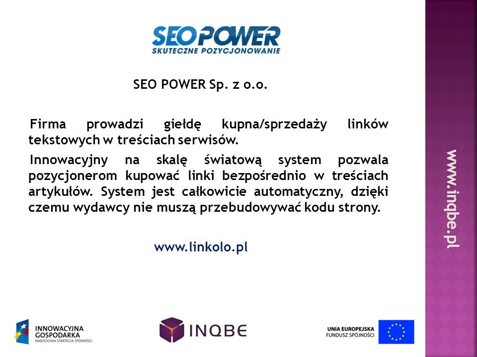 www.inqbe.pl SEO POWER Sp. z o.o.