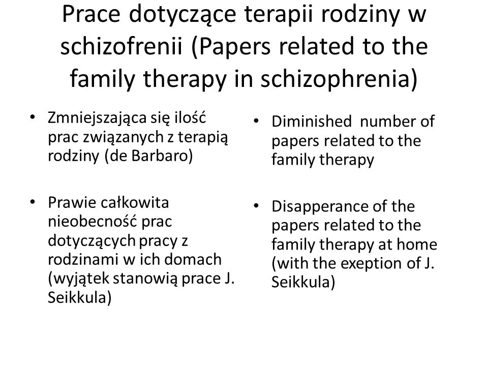 Prace dotyczące terapii rodziny w schizofrenii (Papers related to the family therapy in schizophrenia)