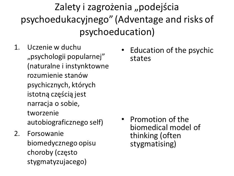 """Zalety i zagrożenia """"podejścia psychoedukacyjnego (Adventage and risks of psychoeducation)"""