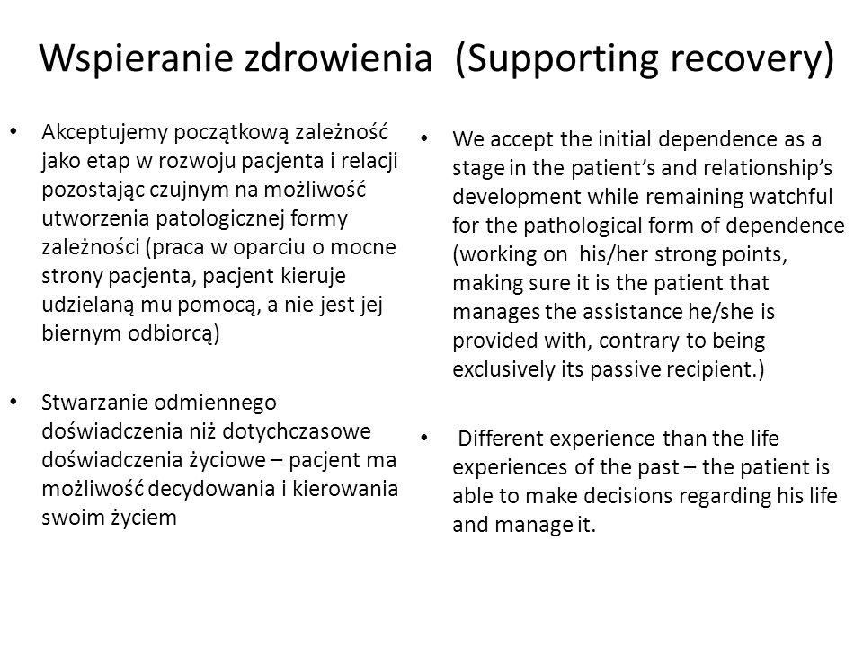 Wspieranie zdrowienia (Supporting recovery)