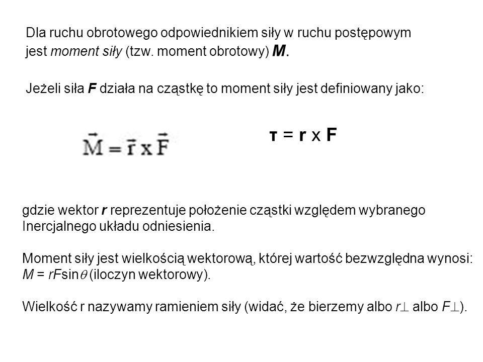 τ = r x F Dla ruchu obrotowego odpowiednikiem siły w ruchu postępowym