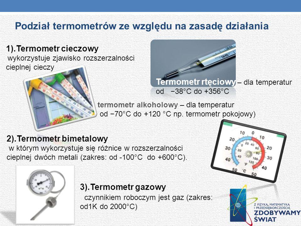 Podział termometrów ze względu na zasadę działania
