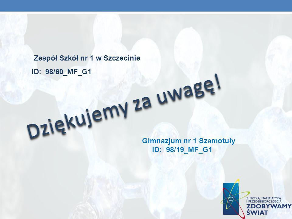 Dziękujemy za uwagę! Zespół Szkół nr 1 w Szczecinie ID: 98/60_MF_G1