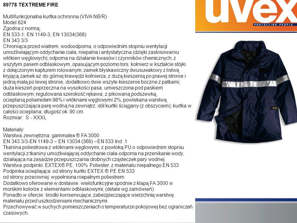 89778 TEXTREME FIRE Multifunkcjonalna kurtka ochronna (VIVA NB/R) Model 624 Zgodna z normą: EN 533-1; EN 1149-3; EN 13034(368) EN 343 3/3 Chroniąca przed wiatrem, wodoodporna, o odpowiednim stopniu wentylacji umożliwiającym oddychanie ciała, niepalna i antystatyczna (dzięki zastosowaniu włókien węglowych); odporna na działanie kwasów i czynników chemicznych; z wszytym pasem odblaskowym, opasującym poziomo tors; kołnierz w kształcie stójki z dołączonym kapturem rolowanym; zamek błyskawiczny dwusuwakowy z listwą kryjącą zamek aż do górnej krawędzi kołnierza; z dużą kieszenią po prawej stronie i jedną małą po lewej stronie, dodatkowo dwie wszyte kieszenie boczne z patkami; duża kieszeń poprzeczna na wysokości pasa, umieszczona pod paskiem odblaskowym; regulowana szerokość rękawa; z pikowaną podszewką, ocieplaną poliamidem 98% i włóknami węglowymi 2%; powlekana warstwą przepuszczająca parę wodną na zewnątrz; dół kurtki ściągany (z obszyciem); kurtka w całości ocieplana; długość ok.