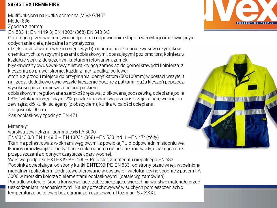 """89745 TEXTREME FIRE Multifunkcjonalna kurtka ochronna """"VIVA G/NB Model 836 Zgodna z normą: EN 533-1; EN 1149-3; EN 13034(368) EN 343 3/3 Chroniąca przed wiatrem, wodoodporna, o odpowiednim stopniu wentylacji umożliwiającym oddychanie ciała, niepalna i antystatyczna (dzięki zastosowaniu włókien węglowych); odporna na działanie kwasów i czynników chemicznych; z wszytymi pasami odblaskowymi, opasującymi poziomo tors; kołnierz w kształcie stójki z dołączonym kapturem rolowanym; zamek błyskawiczny dwusuwakowy z listwą kryjącą zamek aż do górnej krawędzi kołnierza; z dużą kieszenią po prawej stronie, każda z nich z patką; po lewej stronie z przodu miejsce do przypinania identyfikatora (50x100mm) w postaci wszytej taśmy na rzepy; dodatkowo dwie wszyte kieszenie boczne z patkami; duża kieszeń poprzeczna na wysokości pasa, umieszczona pod paskiem odblaskowym; regulowana szerokość rękawa; z pikowaną podszewką, ocieplaną poliamidem 98% i włóknami węglowymi 2%; powlekana warstwą przepuszczająca parę wodną na zewnątrz; dół kurtki ściągany (z obszyciem); kurtka w całości ocieplana;"""