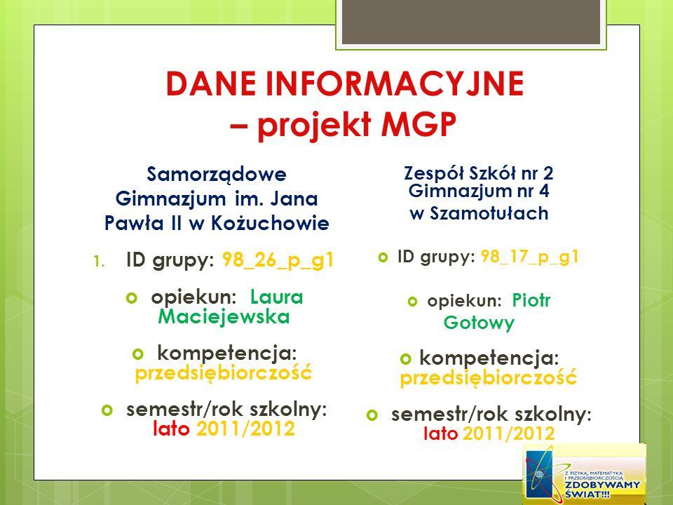 DANE INFORMACYJNE – projekt MGP