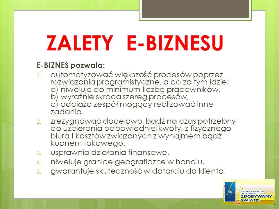ZALETY E-BIZNESU E-BIZNES pozwala: