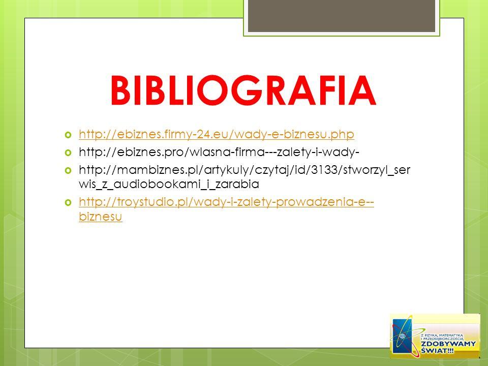 BIBLIOGRAFIA http://ebiznes.firmy-24.eu/wady-e-biznesu.php
