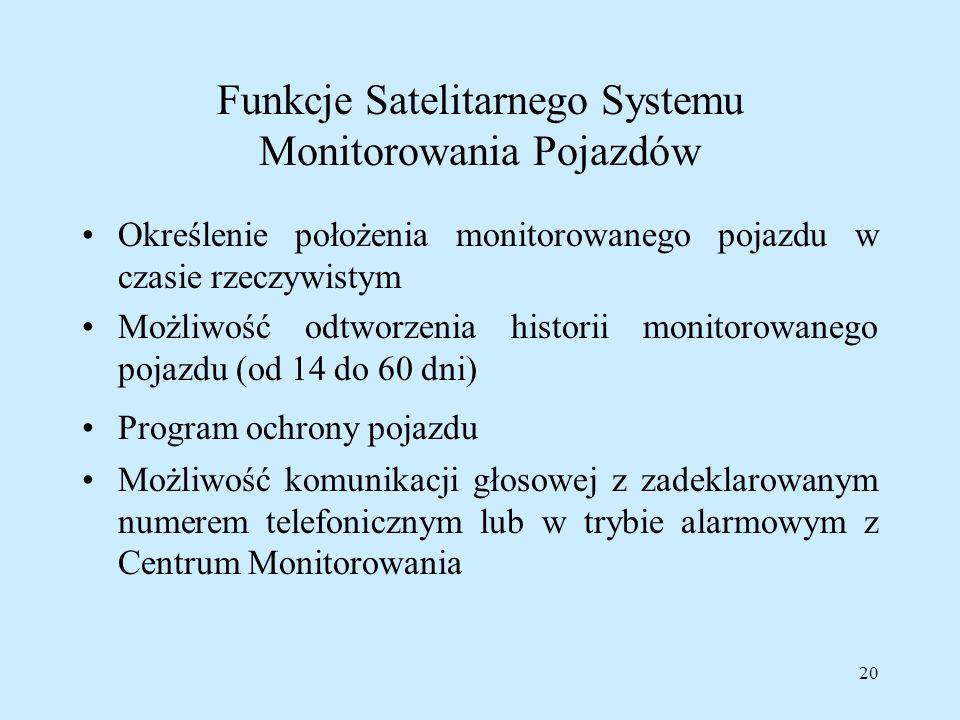 Funkcje Satelitarnego Systemu Monitorowania Pojazdów
