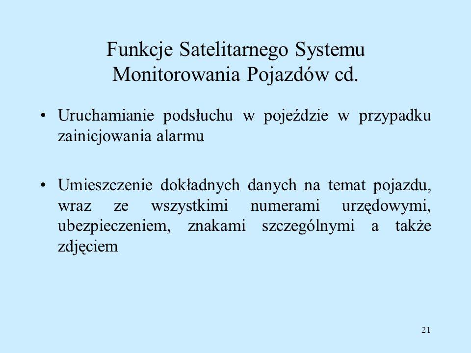 Funkcje Satelitarnego Systemu Monitorowania Pojazdów cd.