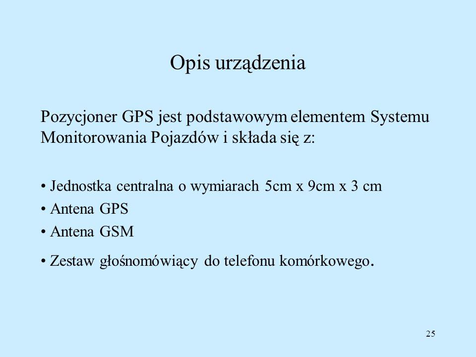 Opis urządzeniaPozycjoner GPS jest podstawowym elementem Systemu Monitorowania Pojazdów i składa się z: