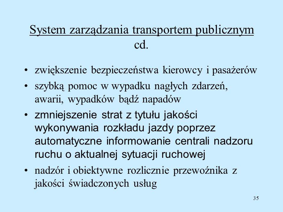 System zarządzania transportem publicznym cd.
