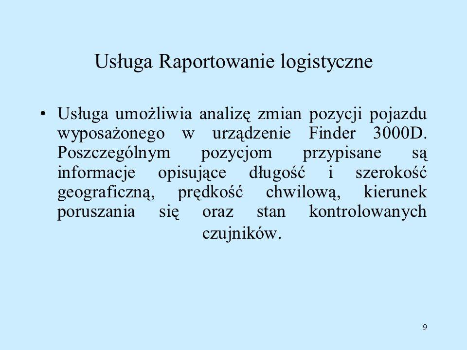 Usługa Raportowanie logistyczne