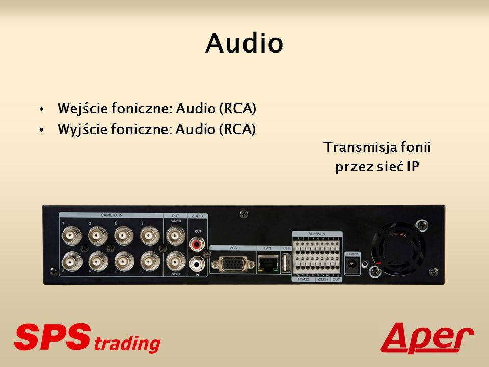Audio Wejście foniczne: Audio (RCA) Wyjście foniczne: Audio (RCA)