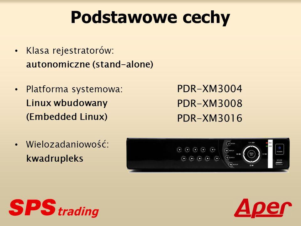 Podstawowe cechy PDR-XM3004 PDR-XM3008 PDR-XM3016 Klasa rejestratorów: