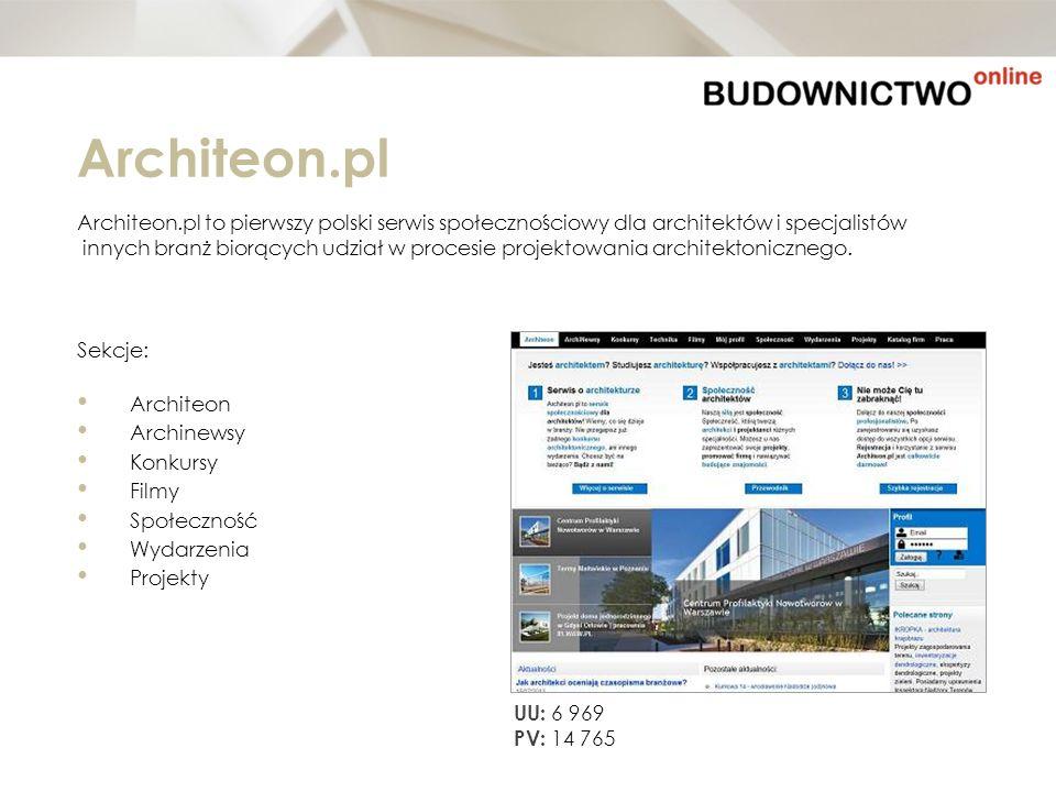 Architeon.pl Architeon.pl to pierwszy polski serwis społecznościowy dla architektów i specjalistów.