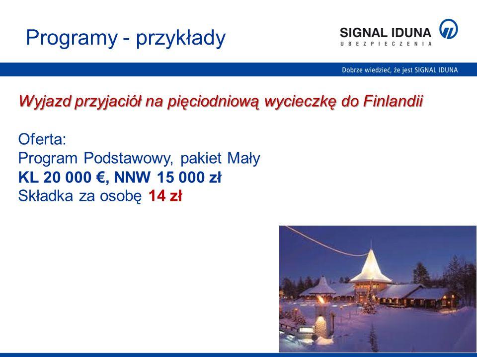 Programy - przykłady Wyjazd przyjaciół na pięciodniową wycieczkę do Finlandii. Oferta: Program Podstawowy, pakiet Mały.