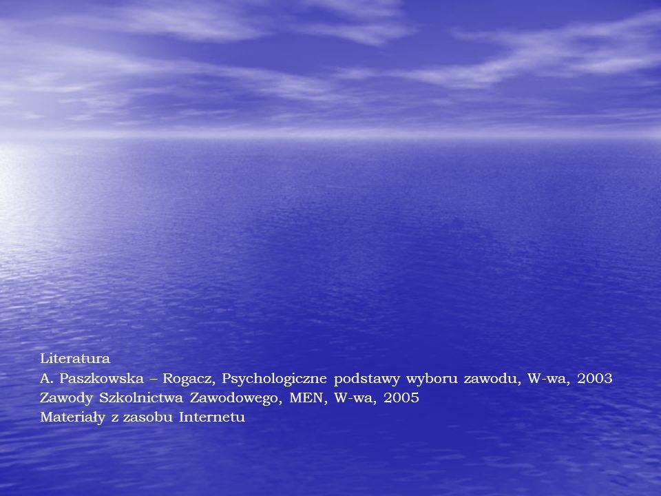 Literatura A. Paszkowska – Rogacz, Psychologiczne podstawy wyboru zawodu, W-wa, 2003. Zawody Szkolnictwa Zawodowego, MEN, W-wa, 2005.