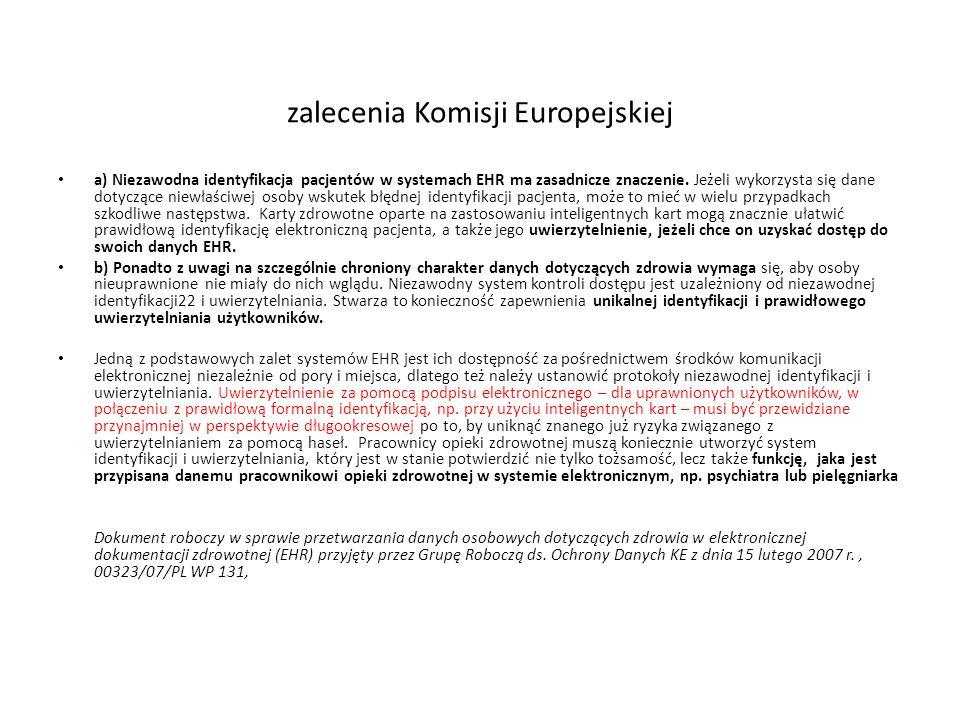 zalecenia Komisji Europejskiej