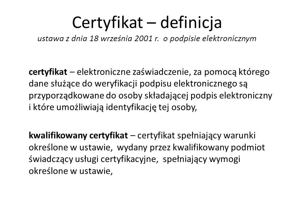 Certyfikat – definicja ustawa z dnia 18 września 2001 r