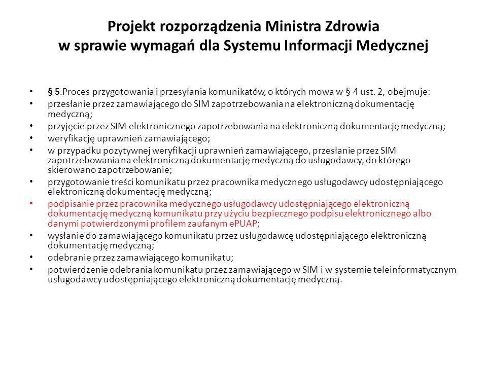 Projekt rozporządzenia Ministra Zdrowia w sprawie wymagań dla Systemu Informacji Medycznej