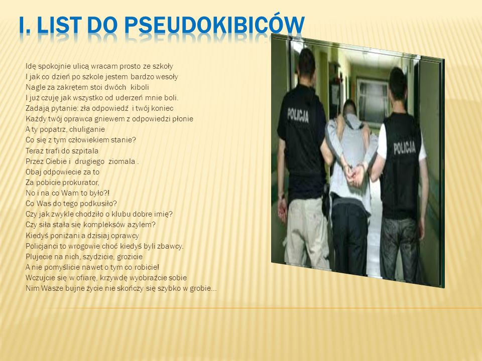 I. List do pseudokibiców