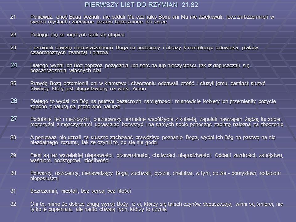 PIERWSZY LIST DO RZYMIAN 21.32