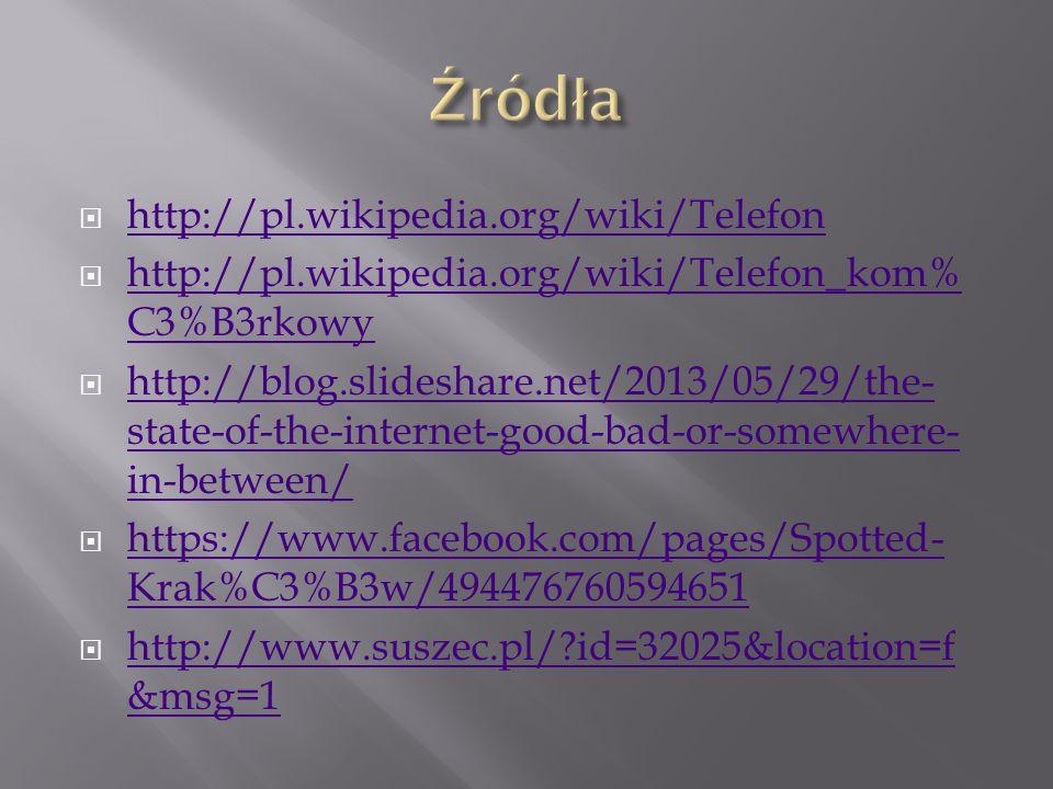 Źródła http://pl.wikipedia.org/wiki/Telefon