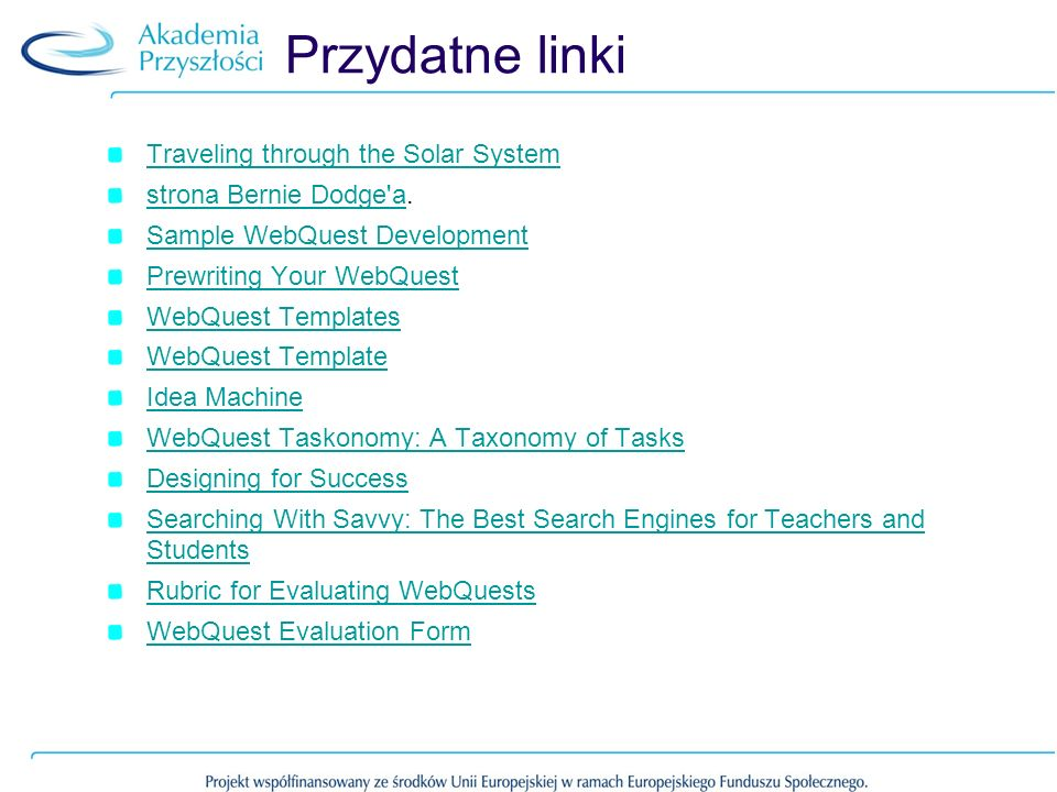 Przydatne linki Traveling through the Solar System