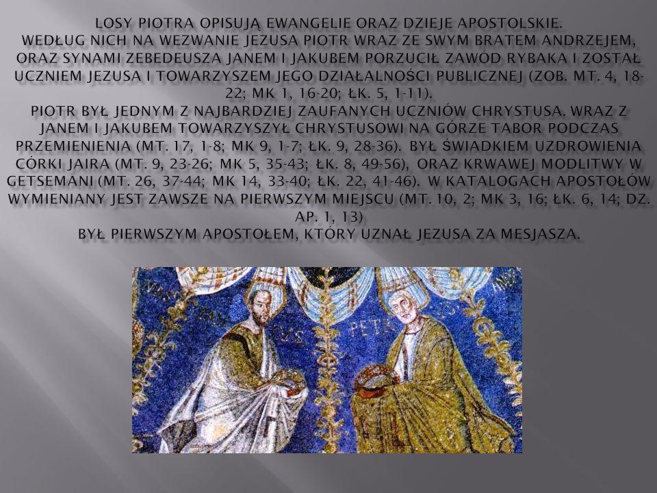 Losy Piotra opisują Ewangelie oraz Dzieje Apostolskie
