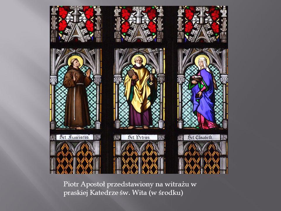 Piotr Apostoł przedstawiony na witrażu w praskiej Katedrze św