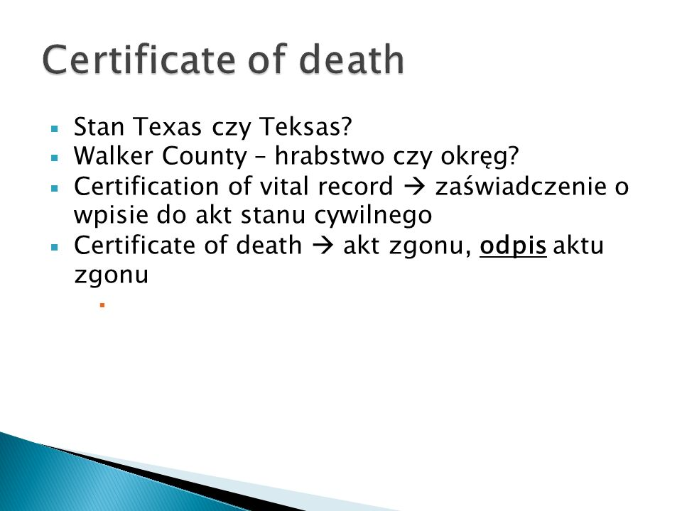 Certificate of death Stan Texas czy Teksas