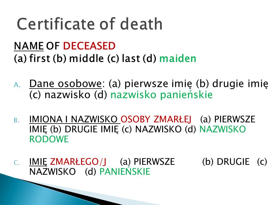 Certificate of death NAME OF DECEASED