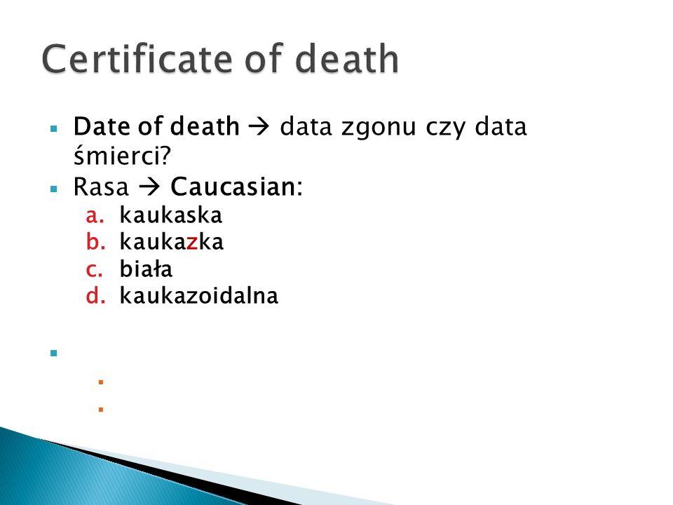 Certificate of death Date of death  data zgonu czy data śmierci