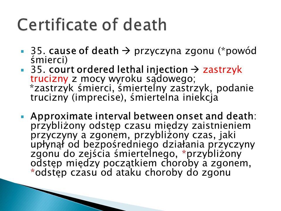 Certificate of death 35. cause of death  przyczyna zgonu (*powód śmierci)