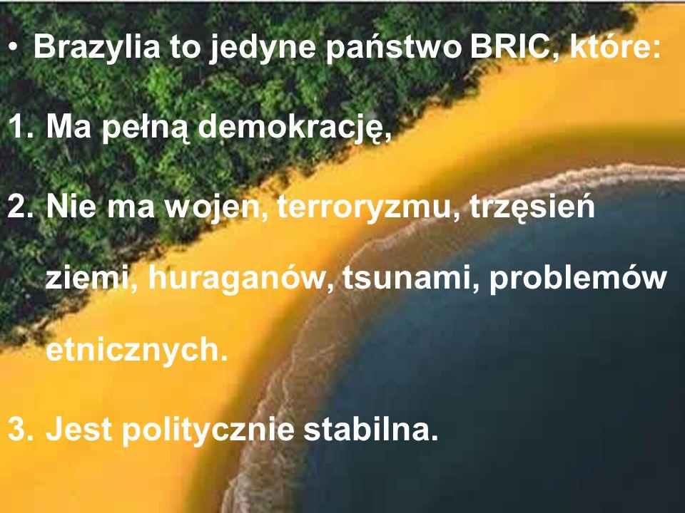 Brazylia to jedyne państwo BRIC, które: