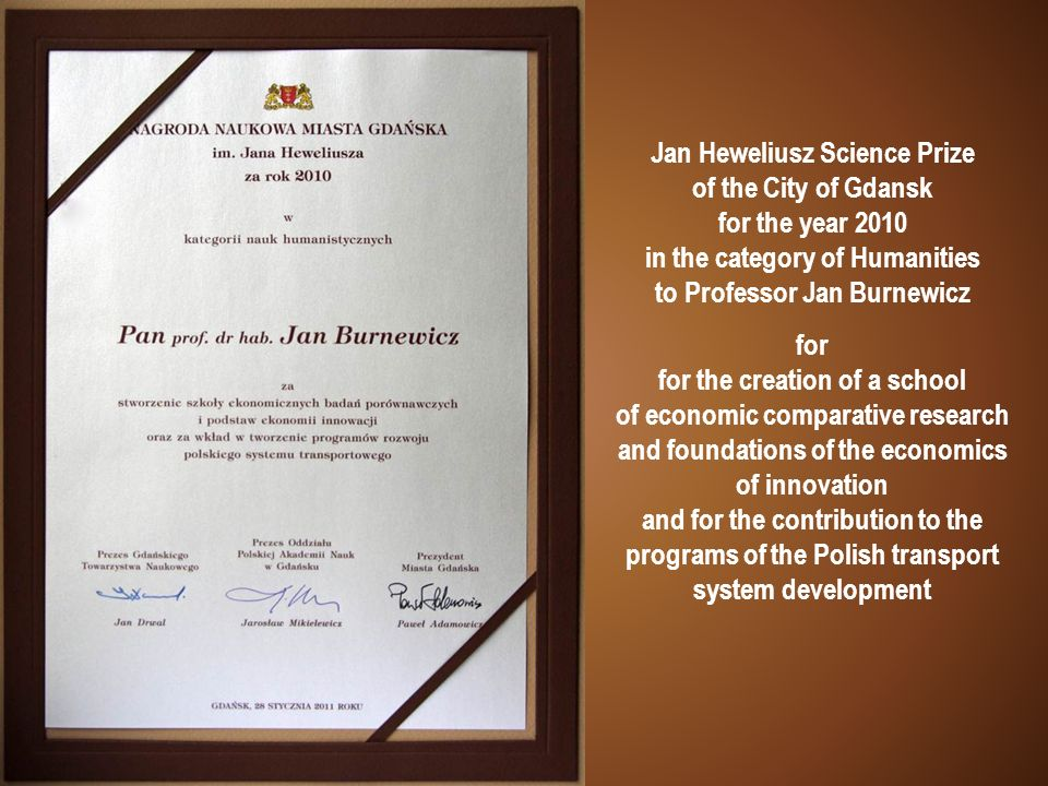 Jan Heweliusz Science Prize of the City of Gdansk for the year 2010