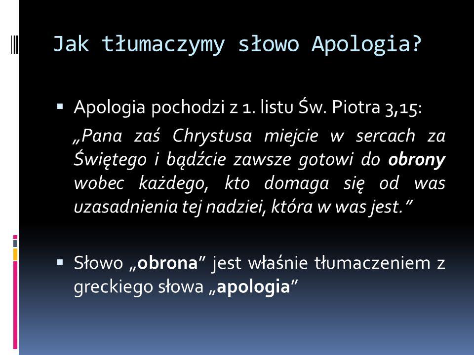 Jak tłumaczymy słowo Apologia