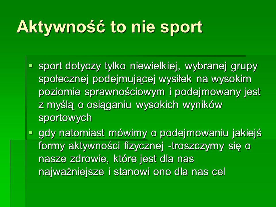 Aktywność to nie sport