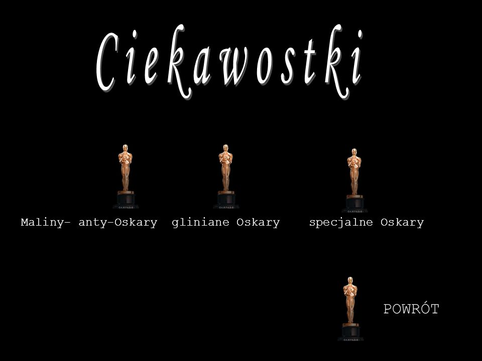Ciekawostki Maliny- anty-Oskary gliniane Oskary specjalne Oskary POWRÓT